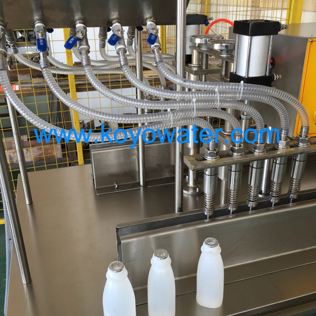 It is Semi Milk Bottle Filling and Sealing Machine,and it very suitable for the begin business man for produce the milk bottle,the filling capacity from 50ml to 2000ml,if you need another filling capacity,also can tell me,we can adjust it according your request.